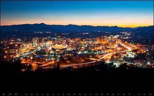 Asheville, NC City Skyline at Night