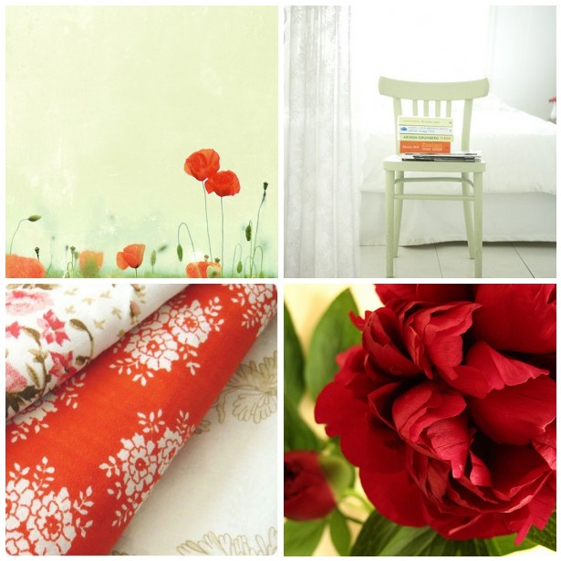 colour palette : hot reds and pale greens - curated by Emma Lamb
