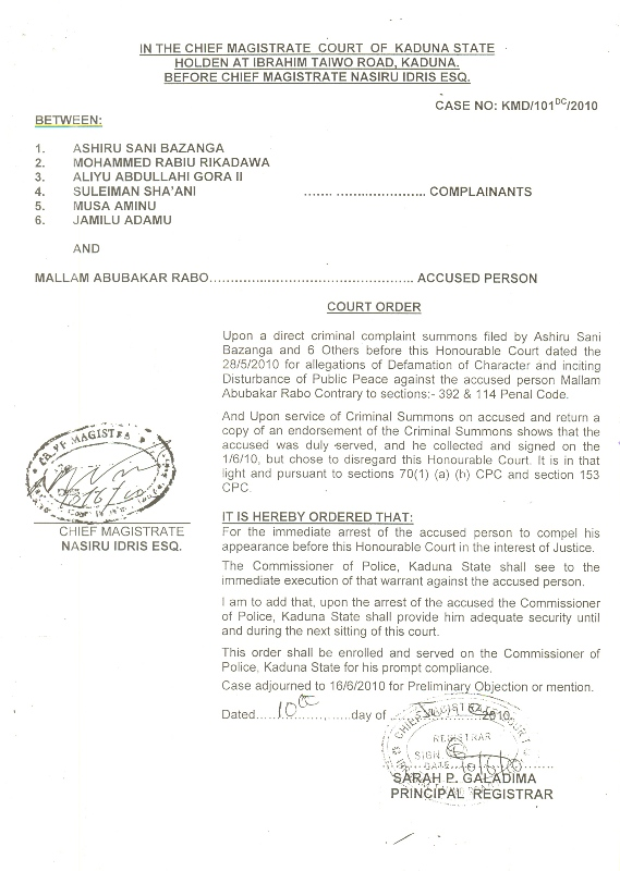arrest pursuant to a warrant