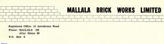 Mallala Brick Works letter head