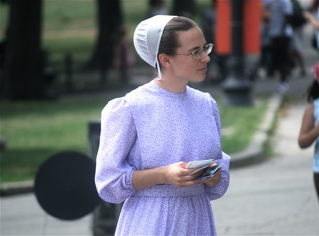Boston Common Mennonite Girl Handing Out Brochures