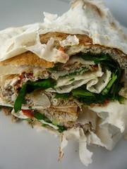 taquito(0.0), flatbread(0.0), sandwich wrap(0.0), tortilla(0.0), baked goods(0.0), produce(0.0), piadina(0.0), meal(1.0), food(1.0), dish(1.0), quesadilla(1.0), cuisine(1.0),