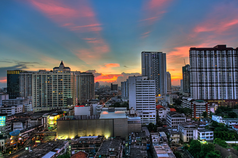 Bangkok Cityscape Sunset HDR Photo