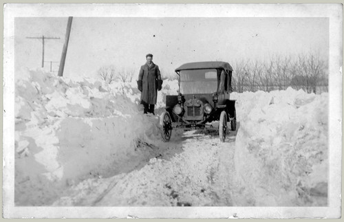 Man and car and snow