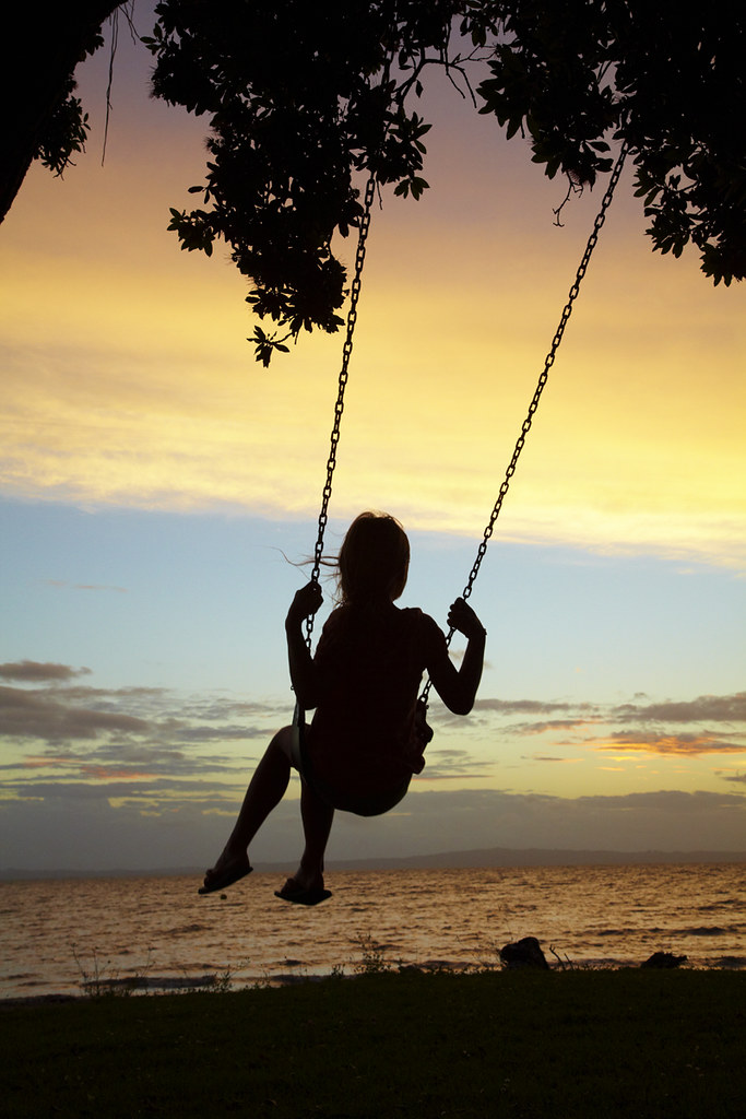 Young Boy On Rope Swing Under Pohutukawa Tree At Sunset T Flickr