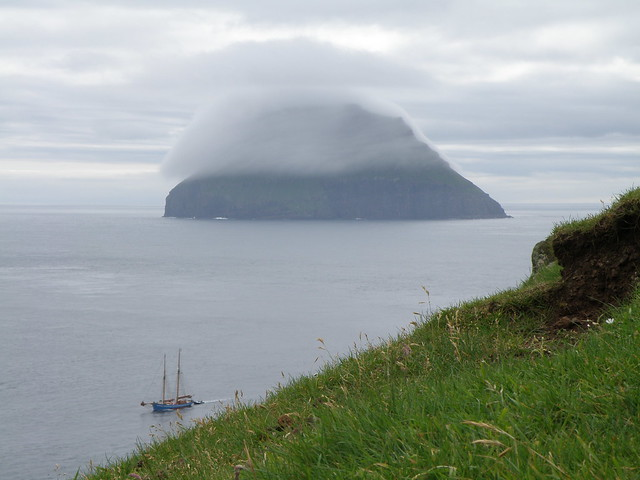 Lítla Dímun with a Foggy Hat - Seen from Stóra Dímun, Faroe Islands
