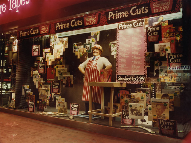 hmv 363 Oxford Street, London - Prime Cuts sale window display 1980s