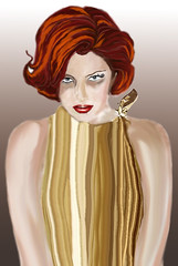 long hair(0.0), blond(0.0), orange(1.0), face(1.0), hairstyle(1.0), brown(1.0), clothing(1.0), head(1.0), hair(1.0), brown hair(1.0), hair coloring(1.0), costume(1.0), red hair(1.0), illustration(1.0), wig(1.0),