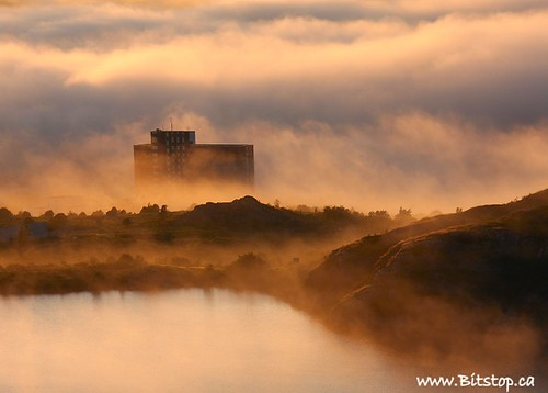 sunset mist canada building nature misty fog clouds newfoundland landscape gold golden evening pond scenery hill scenic stjohns atlantic avalon signalhill nfld eastcoast georgespond