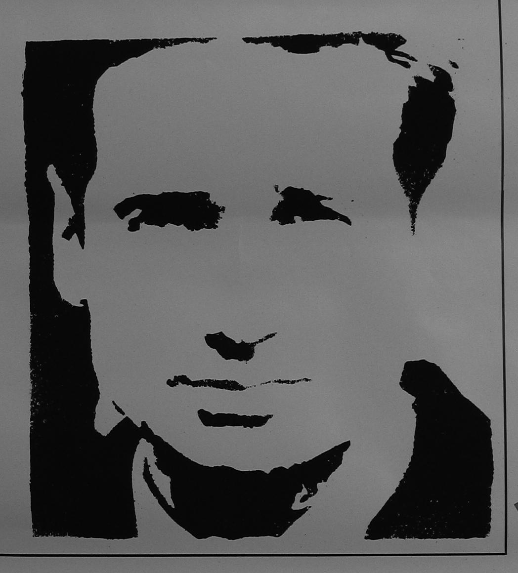 David duchovny peinture acrylique au pochoir sur affiche for Pochoir peinture
