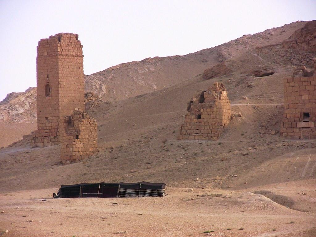 SYRIEN-Palmyra, antike röm. Grabtürme und Beduinenzelt, 12347
