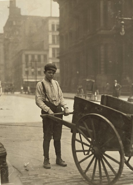 Harvey Nailling, delivery boy for Kutterer Printing Co, works 9 hrs a day, St. Louis, by Lewis W. Hine 1910
