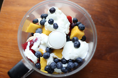 blueberry, berry, sweetness, parfait, whipped cream, fruit, food, dish, dairy product, dessert, snack food,