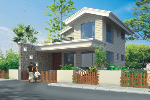 Teak county bungalows twin bungalows villas row for Four bhk bungalow plan