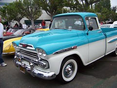 1957 chevrolet(0.0), hot rod(0.0), chevrolet(1.0), automobile(1.0), automotive exterior(1.0), pickup truck(1.0), vehicle(1.0), truck(1.0), chevrolet task force(1.0), chevrolet advance design(1.0), antique car(1.0), land vehicle(1.0), motor vehicle(1.0),
