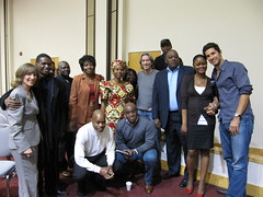 Tzivia and John Prendergast with members of the LA Congolese community