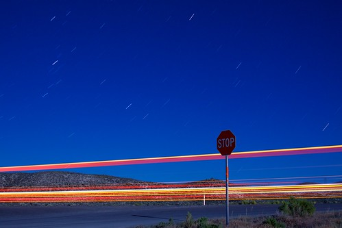 longexposure sign night stars desert nevada stop lighttrails startrails