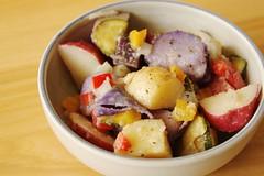 breakfast, potato and tomato genus, salad, vegetable, vegetarian food, fruit, food, dish, cuisine, root vegetable, potato salad,