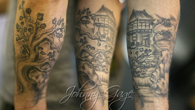 japanese scene lower sleeve tattoo