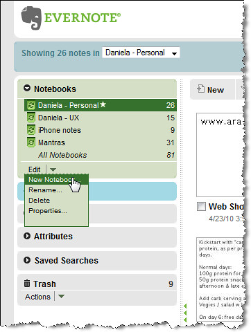 Evernote new notebook 1 drop-down menu April2010