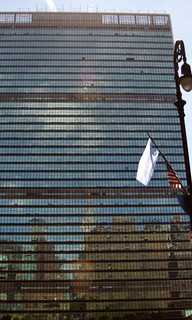 Image of United Nations Headquarters near Long Island City. nyc usa newyork america manhattan un onu unitednation nazioniunite palazzodivetro