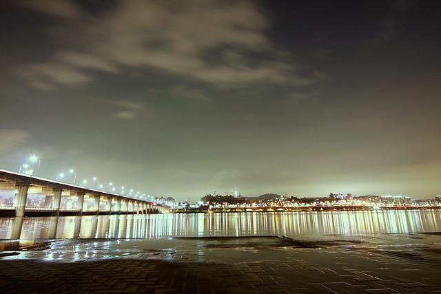 Han River at night, in Seoul, Korea