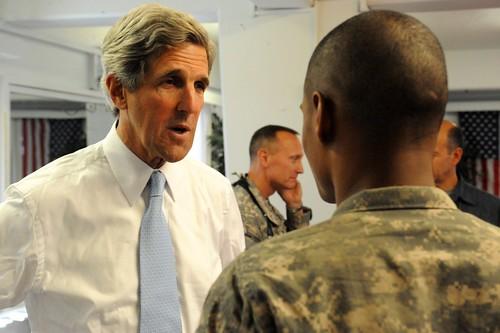 Senator John Kerry visits troops at Camp Eggers
