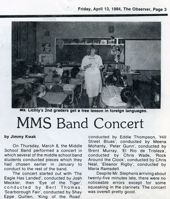 "84_11.22 - ""MMS Band Concert"" Observer article"