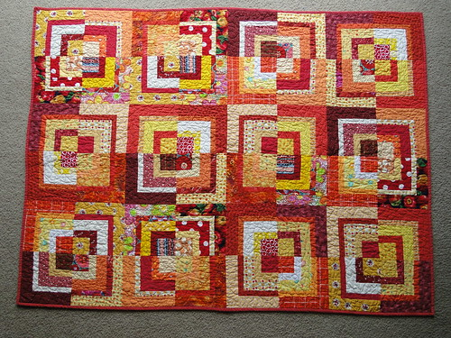 Bee Crazy Charity Quilt Red - finished!