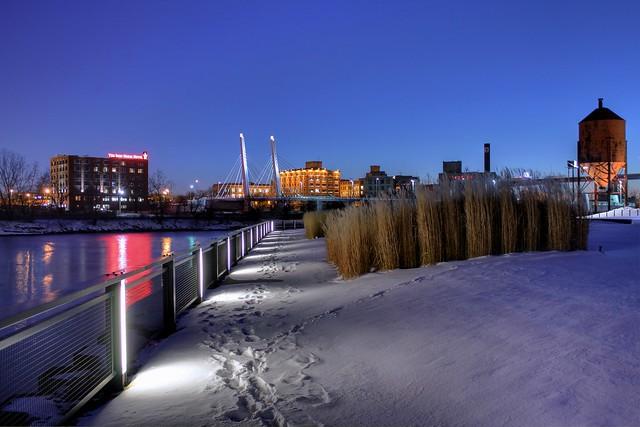 Winter Night along the Menomonee River