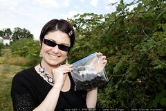 rachel with her blackberry collection underway