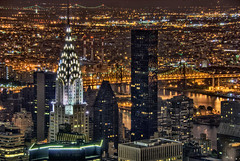 Chrysler Building Aerial at Night - Manhattan