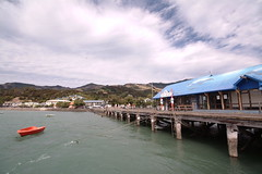 Wharf at Akaroa Harbour, Banks Peninsula, Canterbury, New Zealand