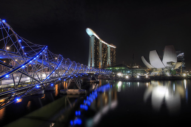 Helix Bridge and Marina Bay Sands at Night - HDR