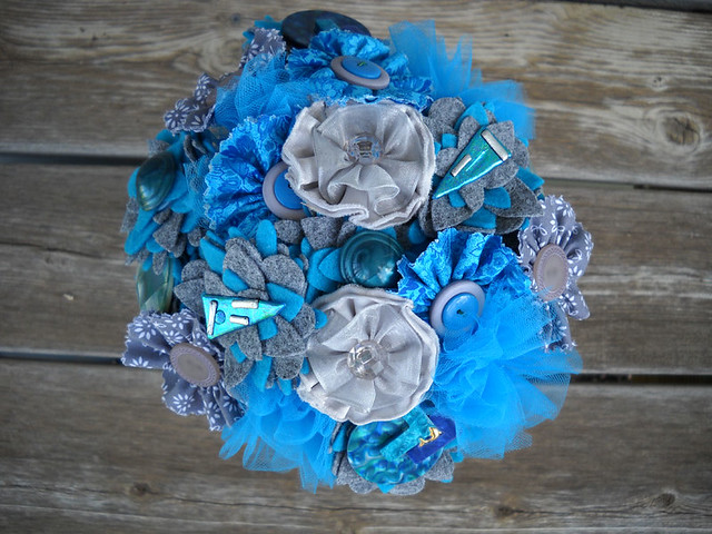 Blue Gray Button Jewelry Wedding Bouquet Centerpiece Bride Flower Girl