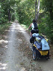 Great photo of Kate on the C&O Trail with our travel cart