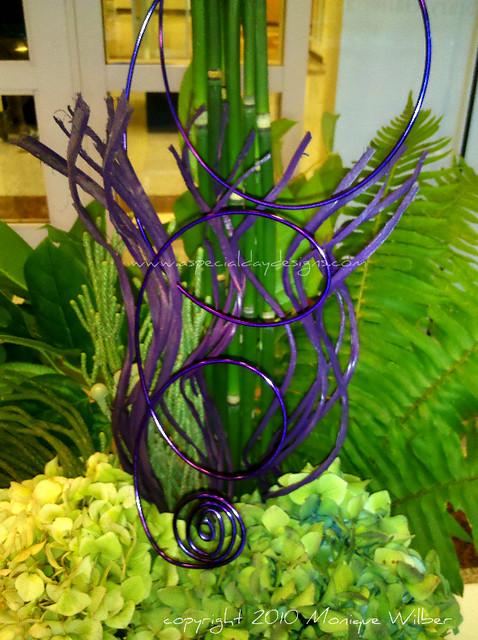 purple wire fern antique hydrangea wedding centerpiece