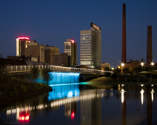 park longexposure blue red urban water architecture night canon reflections lights waterfall birmingham colorful cityscape alabama clear smokestack bluehour lightroom favorited cityfederal f75 iso80 railroadpark 1052mm chdk sx200is 57mm35mmequiv