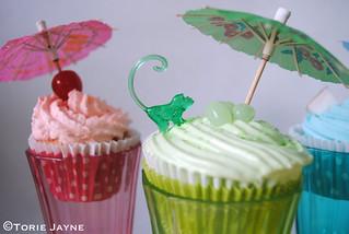 Margarita, Blue Hawaii & Strawberry Daiquiri Cupcakes