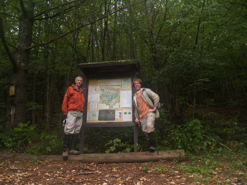 The trailhead kiosk for the Devil's Path at Mink Hollow on Spruceton Road