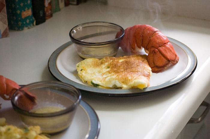 Lobster and omelette breakfast. thanks Andrew!
