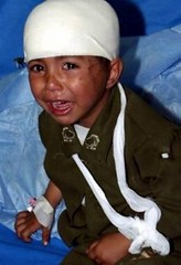 A frightened child in hospital