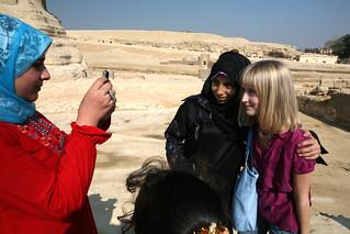 Masha and arab girls near the Sphinx