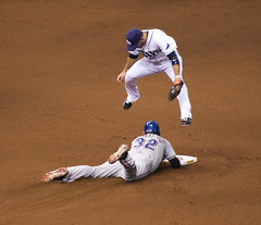Josh Hamilton Slides Safely into second base