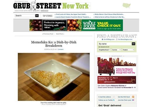 NY Grub Street: Momofuku Ko (tearsheet)