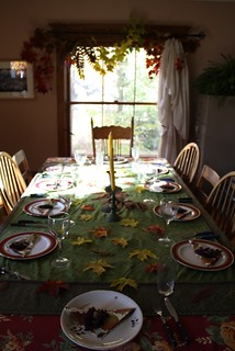 the table set for the feast of thanks