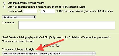 screenshot of the CSA email function with citation styles highlighted