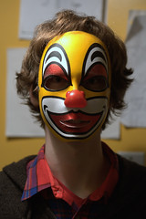 nose(1.0), masque(1.0), art(1.0), face(1.0), clothing(1.0), yellow(1.0), red(1.0), head(1.0), costume(1.0), clown(1.0), person(1.0),