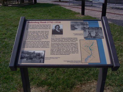 History interpretation sign, Bladensburg floods, Bladensburg Waterfront Park