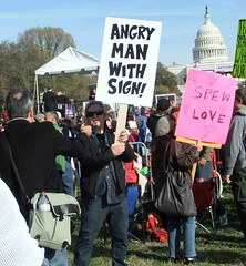 Angry Man with Sign Photo